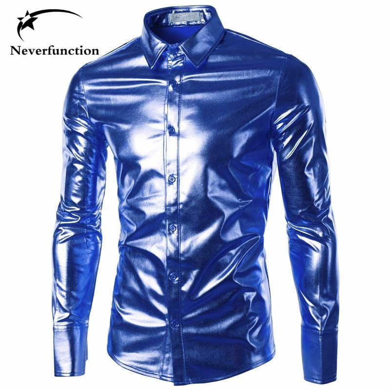 Men Night Club stage performances Slim Fit Shirts Fashion Shiny Long Sleeve Gold Silver blue Wedding dress Coated Chemise Homme