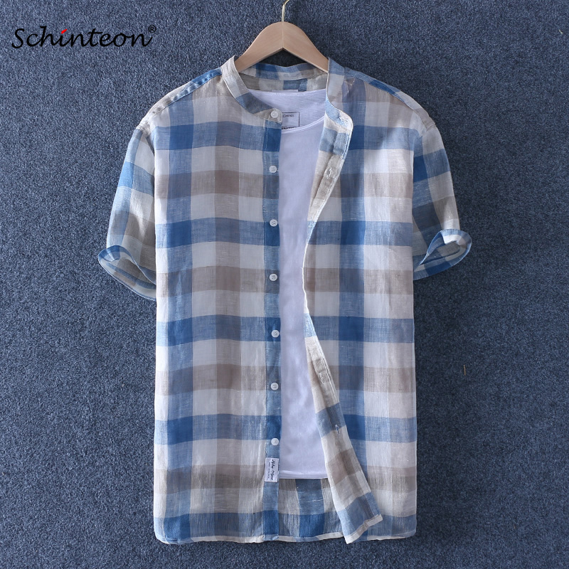 Schinteon 100% Pure Linen Plaid Summer Shirt Men Breathable Stand Collar Thin Short Sleeved Casual Shirt Comfortable New Arrival