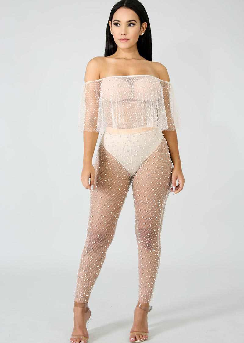 8c8ceea893399 ... Beyprern Sexy Women Pearl Mesh High Waist Leggings Embellished Mesh  Pants Stretchy See Through Skinny Pencil ...