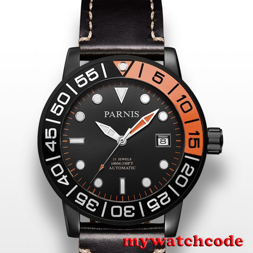 42mm Parnis black dial PVD case Sapphire glass Miyota automatic mens watch P408B цена и фото