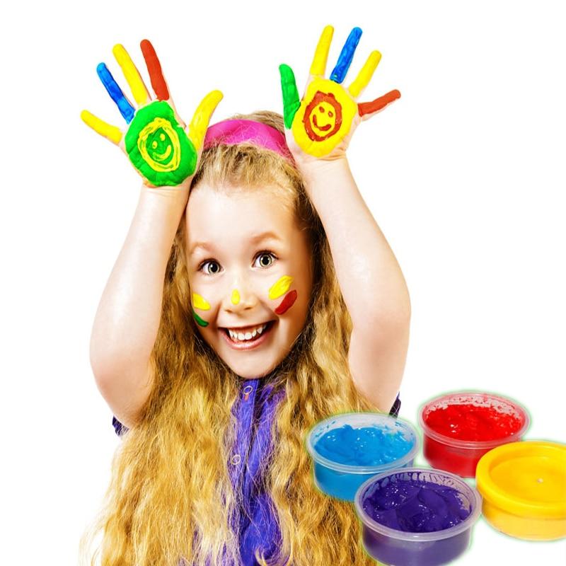 6 färger / set Fingermålning Ritning Leksaker barn pedagogisk leksak fingermålning verktygssats födelsedagspresenter lera målning