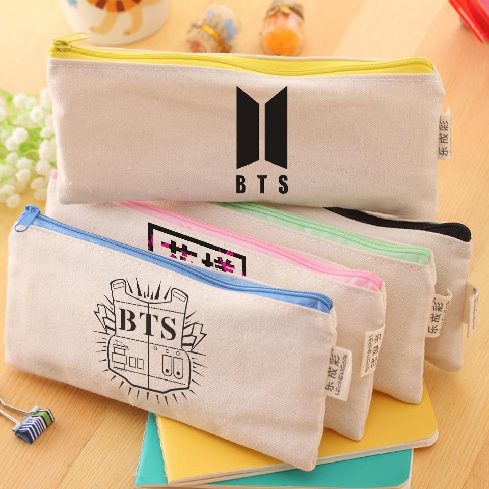 BTS 2018 New bts accessories Canvas Handbags Bts Stationery Gift School Supplies Multicolor Zipper Pencil bts Bags bts берлин