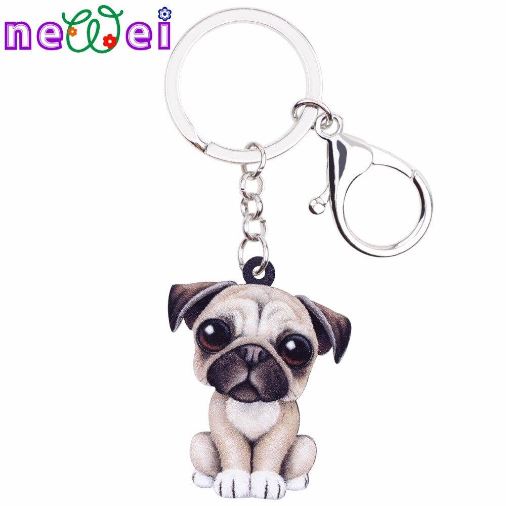 NEWEI Acrylic Cartoon Lovely French Bulldog Pug Dog Key Chains Keyrings Jewelry For Women Girl Ladies Handbag Charms Kids Gift