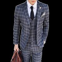 (Блейзеры + жилет + брюки) 2019 Высокое качество Мужские костюмы мода сетка полоса Slim Fit три части бизнес случайный Свадебный мужской костюм