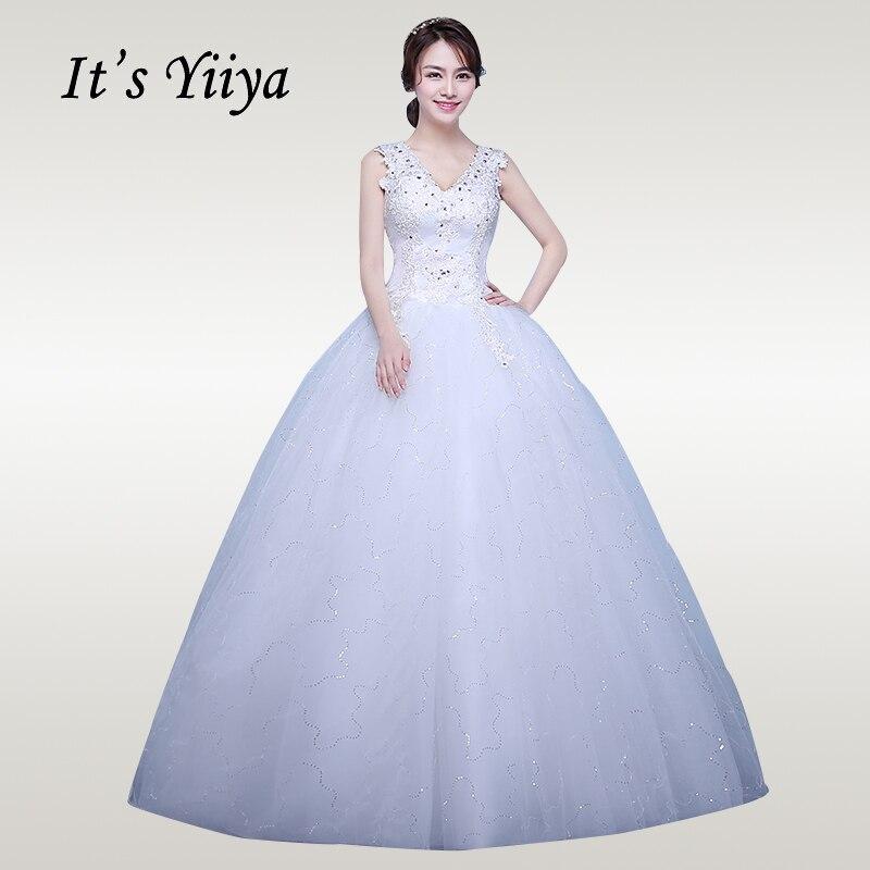 It's YiiYa Wedding Dress 2019 V-neck Sleeveless White Wedding Gowns Crystal Plus Size Long Vestido De Novia Free Shipping XXN173