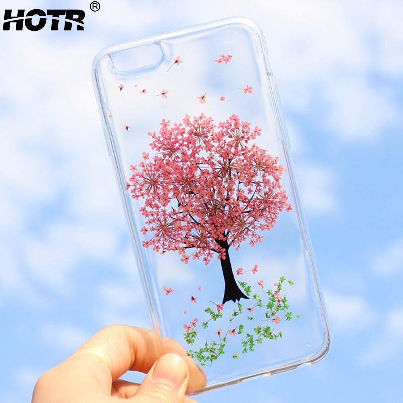 Hotr flor de verdad seca cajas del teléfono para iphone 6 6 s 6 plus para iphone