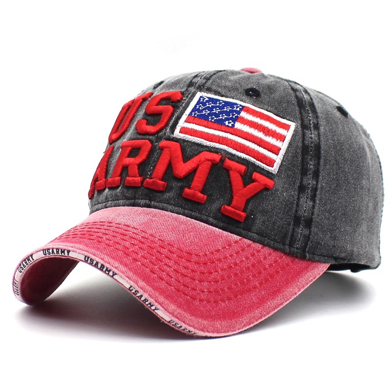 d24c6a2e611 100% Washed Denim Baseball Cap Cotton US Army Snapback Hats For Men Women USA  Flag Caps Casquette Hat Letter Embroidery Gorras-in Baseball Caps from  Apparel ...