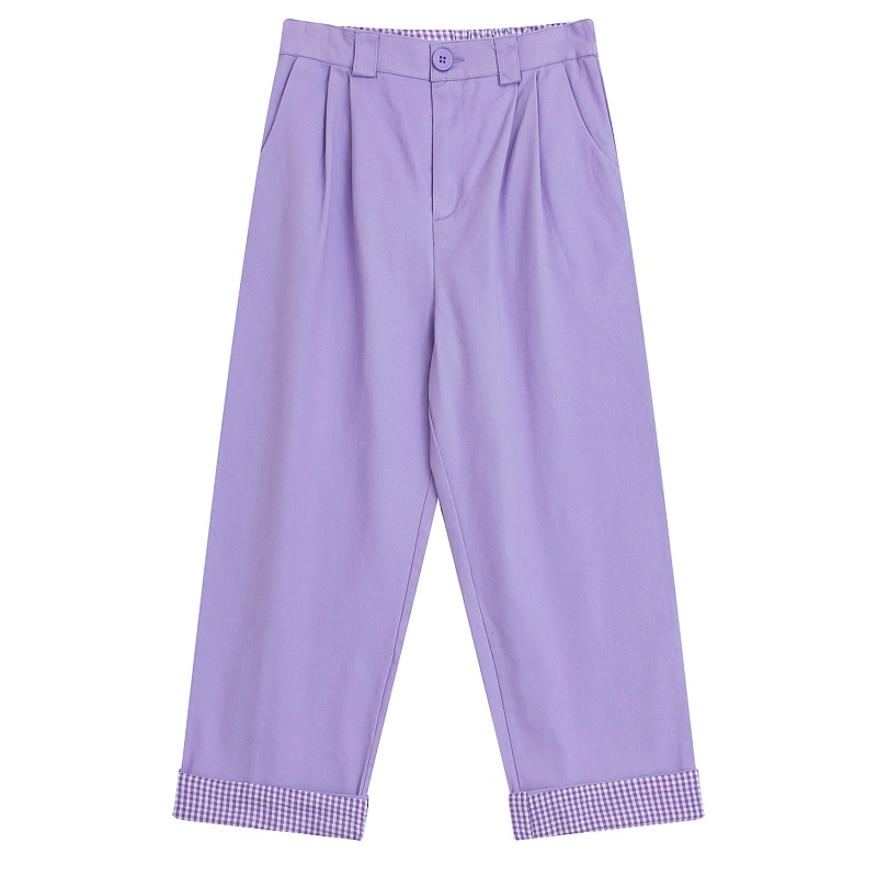 Ladies Casual Trousers For Spring Autumn Straight   Pants   Cotton Rainbow Embroidery Elastic Waist Purple   Pant     Capris   Plaid
