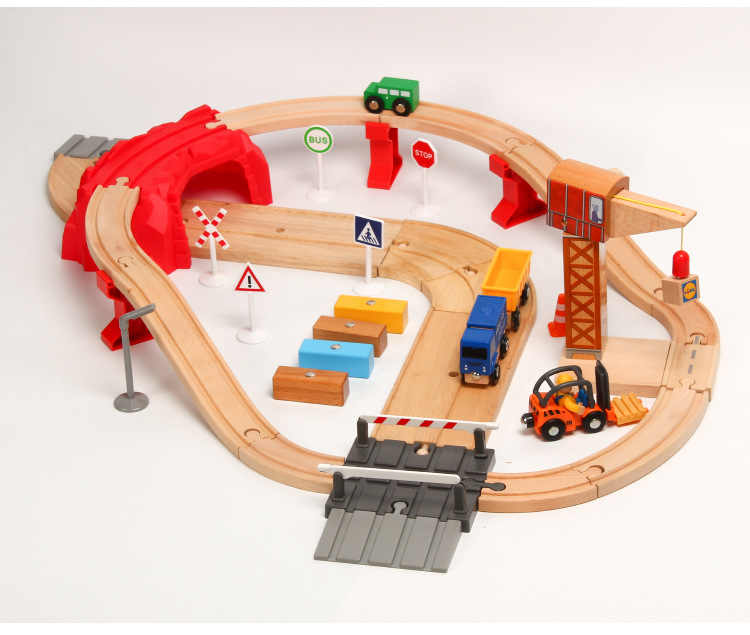 EDWONE -One Set Wood Railway Crane Train Car Slot Railway Accessories Original Toy Kids Xmas Gifts FIT THOMAS BIRO