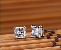 The Princess Cut 925 Sterling Silver Earrings 2 Carat Sona Diamond Earrings Plated White Gold Lab
