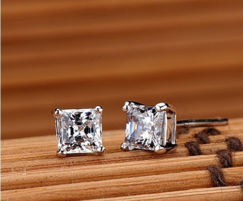 Te201 Princess Cut Earrings 1carat Sona Synthetic Gem 925 Sterling Silver White Gold Color