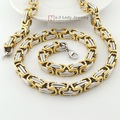 Christmas Gift, top hip hop man byzantine silver/gold tone Stainless Steel chain necklaces for men jewelry WN076