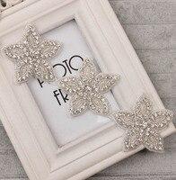 New Crystal Clear Strass Guarnição Applique 7*7 cm Forma de Estrela Hotfix Para Cocar Hairband Faixa Chapéu Decoração