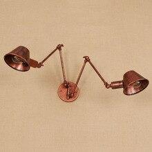 цена на American Vintage Double Long Arm Iron Wall Lamp Lampshade E27 20cm Rusty Black Restaurant Decor Up and Down Wall Lights Retro