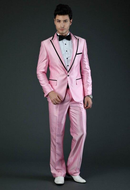 2015 hombres trajes de fiesta rosa traje negro solapa de pico Mens ...