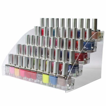 Fashionable Multi Layers and clear Nail Polish Display Organizer Rack made of Acrylic Plastic and Metal Accessories for Nail Polish Storage