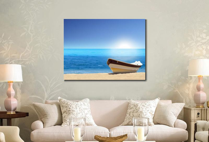 Wall decoration prints canvas piantings Seascapes boat sea beach ...