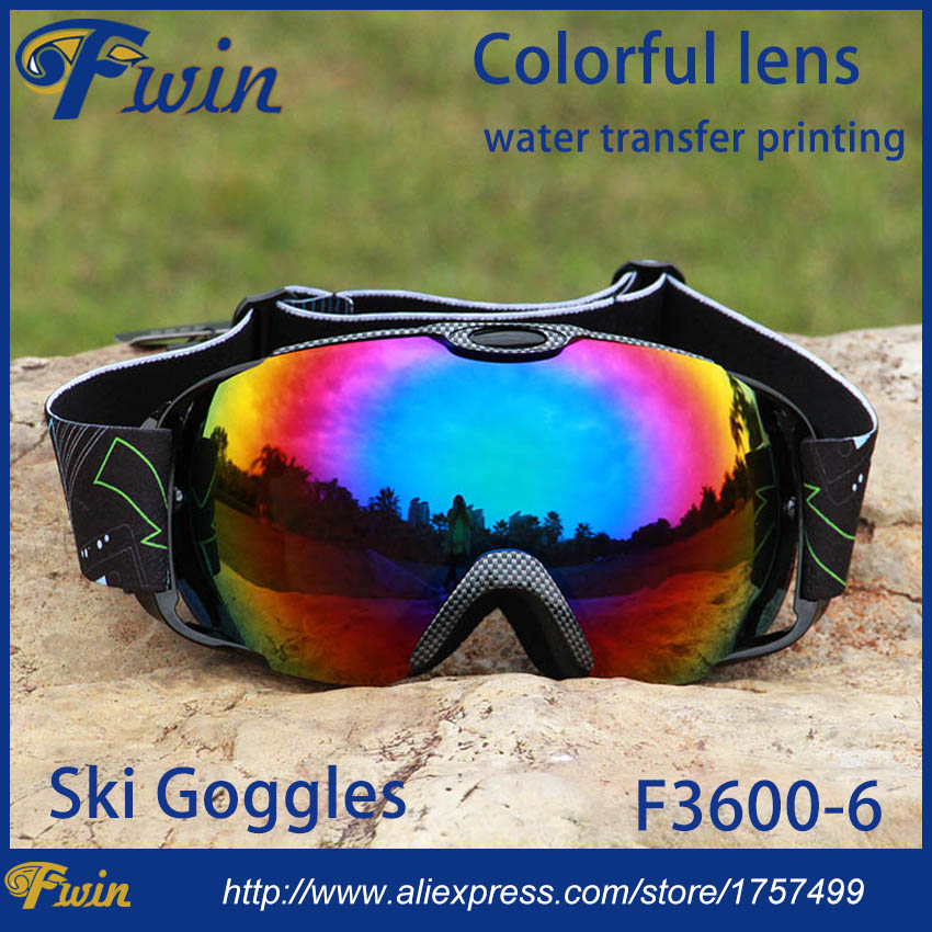 New model Spherical Racing Ski Glasses Fits Over Unisex water transfer printing frame colorful dual lens Snow Goggles 4 colors
