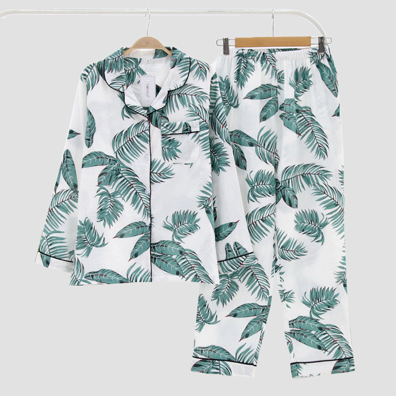 KISBINI 3XL Autumn Spring Women   Pajamas     Sets   Leaves Print Long Sleeves Shirt+Pants Nightwear Cotton Sleepwear Homewear 1Set