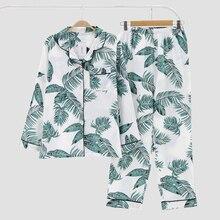 KISBINI Autumn Spring Women Pajamas Sets Print Long Sleeves Shirt+Pants Nightwear Cotton Sleepwear Coton Pijamas Plus size