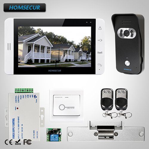 HOMSECUR 7 Video Door Phone Intercom System+Camera for Home Security L1:TC021-B Camera(Black)+TM703-W Monitor(White)+Lock bnc 2 in 1 monitor system lightning surge protector for security camera white black