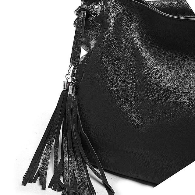 11Cls Bolsas Fashion 100% Italian Soft Genuine Leather Tassel Women's Handbag Ladies Shoulder Bags Satchel Purse Crossbody Tote