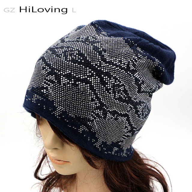 High Quality Winter Rhinestone Beanie Hat For Women Ladies Autumn Winter Soft Cotton Long Slouch Knitted Beanie Hats For Women
