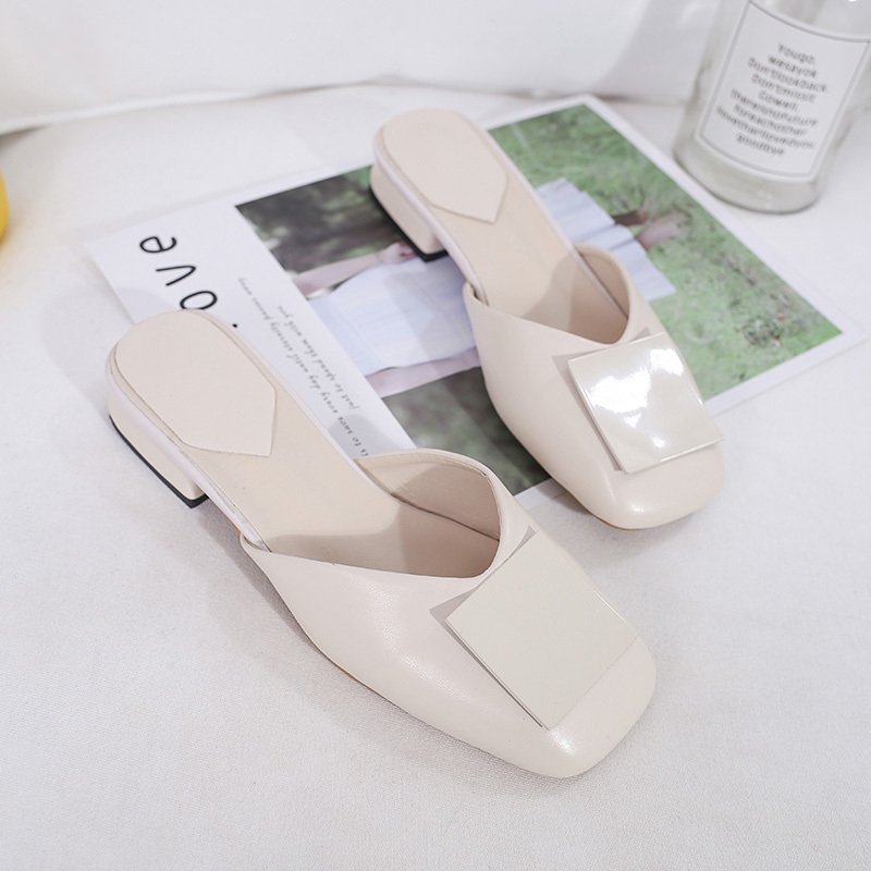 Brand Soft Flat Mules Shoes Low Heels Slippers Ladies Office White Slides Shoes Plus Size Shoes Slip On Shoes Women Mules femme in Slippers from Shoes