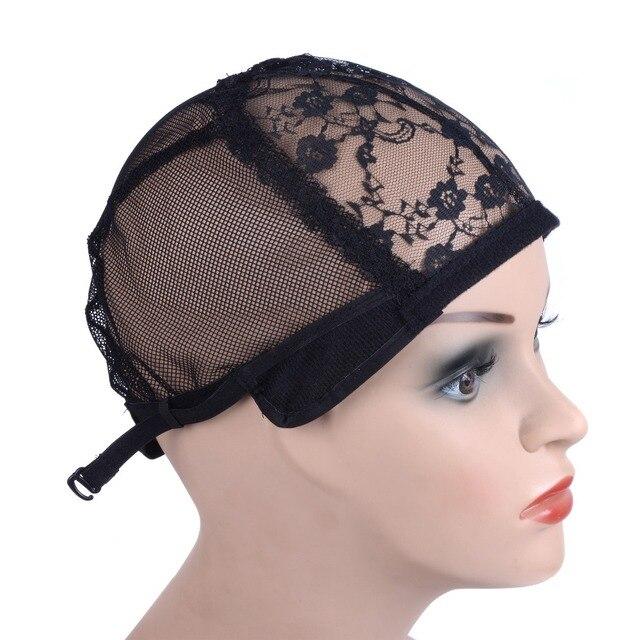 Tampa de peruca para fazer perucas com alça ajustável na parte de trás tamanho cap glueless wig caps boa qualidade Do Cabelo tecelagem preto Net