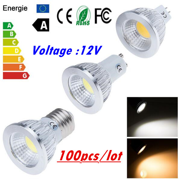 LED energy-saving technology (shenzhen) co., LTD 100PCS cob E27 E14 GU10 GU5.3  MR16 Led Light Bulb 6W 9W 12W LED Lamp 12V Cool Warm White Led Spotlight Lamps free shipping