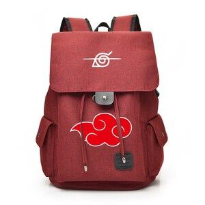 Image 3 - Anime Naruto Cartoon Canvas Backpack for Teenage Akatsuki Itachi Sharingan School Daypack Large Capacity Shoulder Bags Mochila