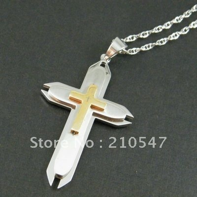 stainless steel gold cross pendant & 05 twoness buckle chain necklace religious jewelry chain necklace pendant  DZ294