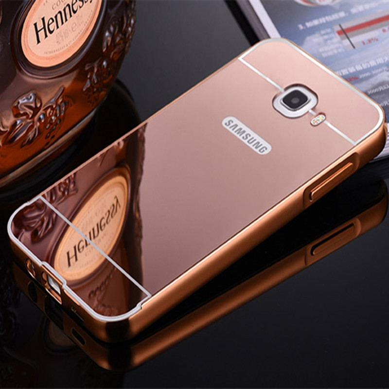 Luxury Gold Plating Aluminum Frame + Acrylic Hybird Mirror Case Back Cover For Samsung Galaxy J7 Prime On7 2016 On Nxt Housings