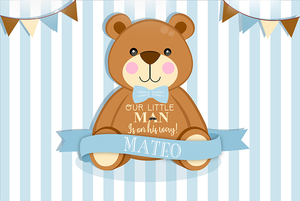 Image 2 - Sensfun Brown Cartoon Bear Photography Backdrop Light Blue White Striped Baby Shower Birthday Party Backgrounds 7x5ft Vinyl