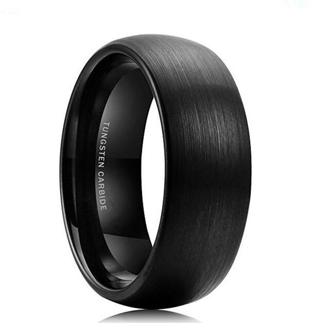 Moda Jóias Anéis de Tungstênio para o Anel de Banda De Casamento Dos Homens Preto 8mm Tamanho 7-12 Mens Anéis