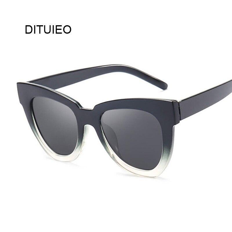 Black Frame Vintage Square Cat Eye Sunglasses Women Brand Design Gradient Big Size Oversized Sun Glasses Female UV400