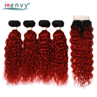 Ienvy 1B Red Ombre Bundles With Closure Brazilian Human Hair Water Wave 4 Bundles With Closure 99J Dark Root Hair Weave Non Remy
