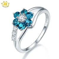 Hutang Genuine London Blue Topaz Flower Fine Jewelry 925 Sterling Silver Gemstone Rings For Women 2017 New Brand