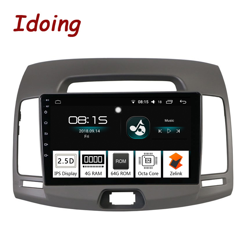Idoing 91Din Car Android 8.0 Radio Vedio Multimedia Player For Hyundai Elantra 2010 GPS Navigation and Glonass 4G+64G Octa Core