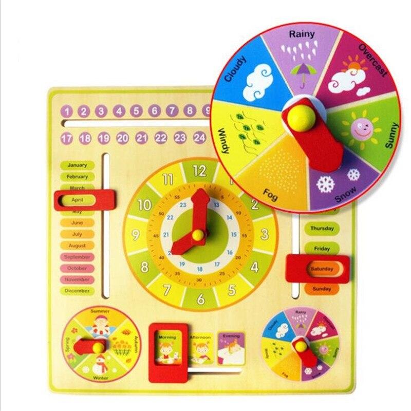 Horloge en bois Montessori Météo Saison Semaine Mois Bloc - Concepteurs et jouets de construction - Photo 4