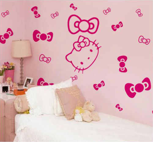 Vinilos Hello Kitty Pared.1 X Hello Kitty 22 X Bowtie Vinilo Calcomania Pared