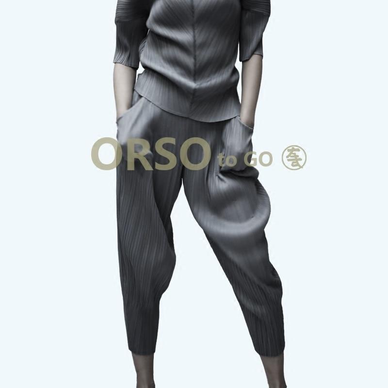 Azterumi Issey Miyake Spring Summer New 2019 Women Casual Loose   Wide     Leg     Pants   Women's Elastic Waist Ankle-length   Pant   Black