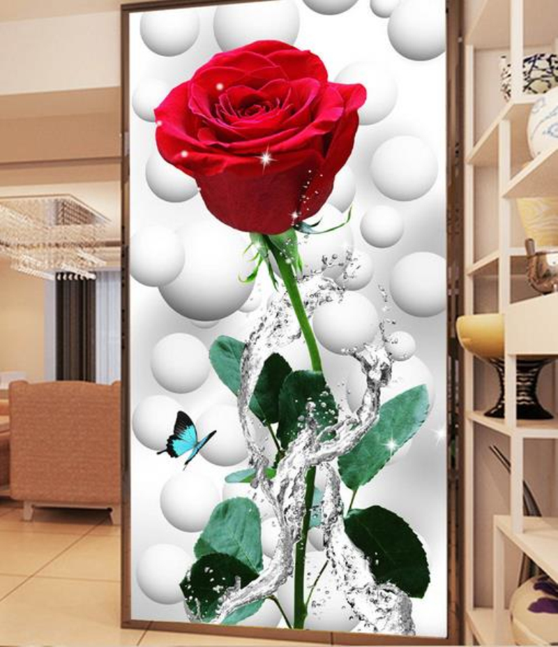 Custom Modern Art 3D Stereoscopic Red Rose Flower Mural Wall Painting Living Room Bedroom Door Decoration Mural Wall Paper custom baby wallpaper snow white and the seven dwarfs bedroom for the children s room mural backdrop stereoscopic 3d
