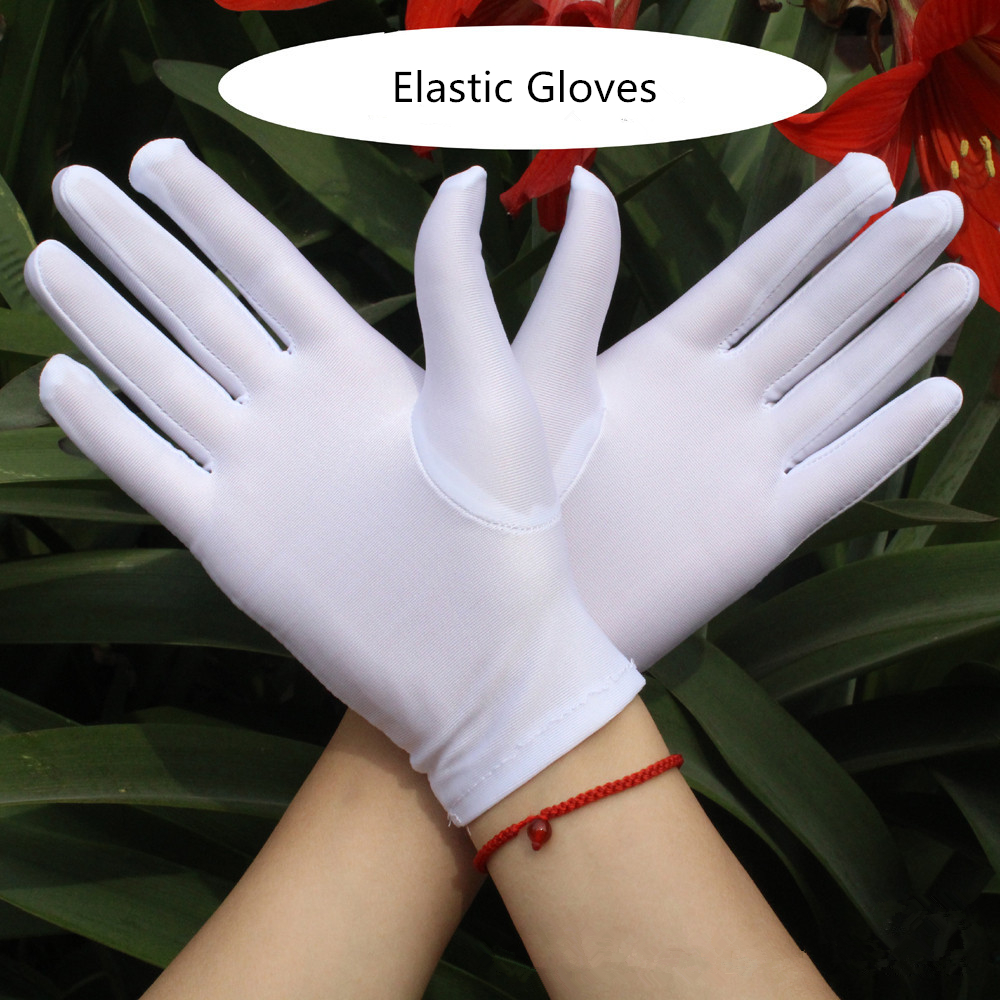 1 Pair Simple & Elegant Women Elastic Spandex Gloves Etiquette Thin Dance Driving Tight White Gloves Jewelry Gants Femme Hiver