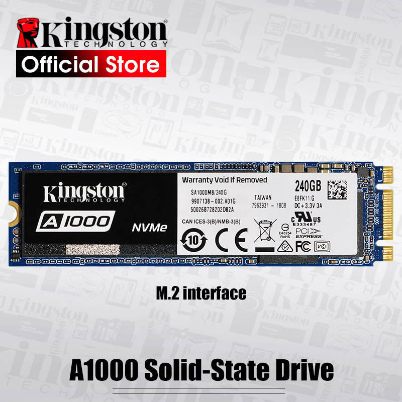 Kingston Interne Solid State Disque Dur 240G 480G 960G A1000 NVMe M.2 2280 SSD NVMe SSD Pour PC Portable Ultrabook