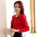 Новый 2017 Женщин Способа Куртки с длинными рукавами Аппликации Красный пальто Женщин Плюс размер Элегантный Темперамент Женщины Платок Короткие куртки