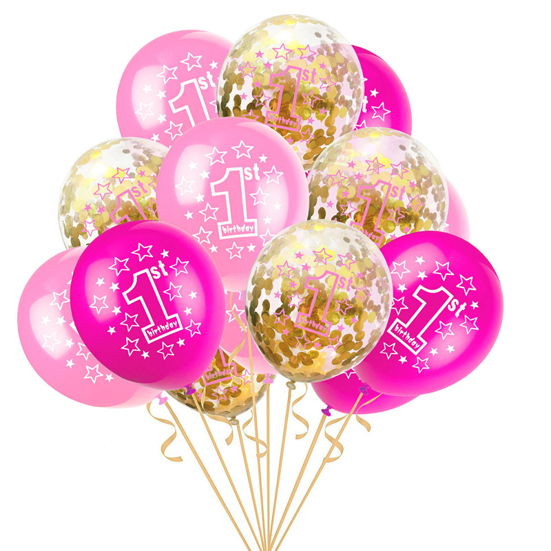 15pcs 1st Birthday Balloons Set Pink Blue Transparent Confetti Latex For Boy Girl 1 Year Old Party Decorations Best Christmas Gifts 2018