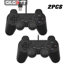 2pcs Black USB PC Computer Wired Gamepad Game Controller Joystick