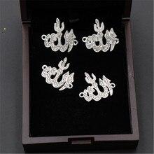 8 adet gümüş renkli 24*22mm Rhinestone Allah Logo alaşım konnektörler kolye DIY için din İslam uğurlu takı yapma 24*22m