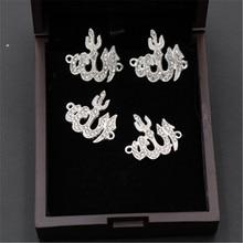 8 sztuk kolor srebrny 24*22mm Rhinestone Allah Logo złącza ze stopu dla naszyjnik DIY religia islamska piękna biżuteria Making 24*22m